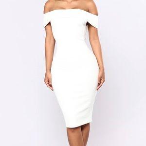 {Fashion Nova} Chantal Off Shoulder Dress - White